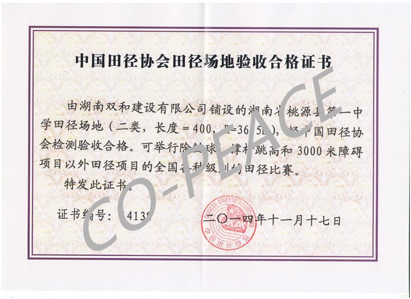 桃源县第一中学项目中国田协验收证书