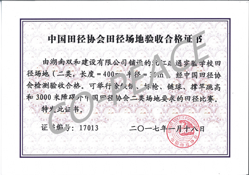 沅江政通学校田径场项目中国田协验收证书