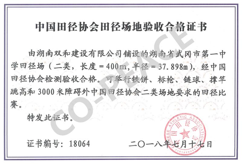 湖南省武冈市第一中学田径场项目中国田协验收证书