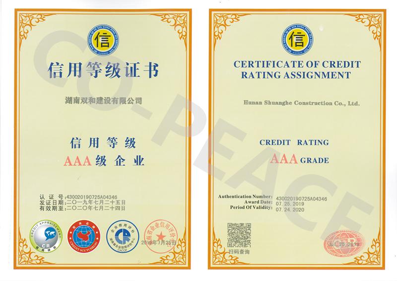AAA信用等级证书-2019